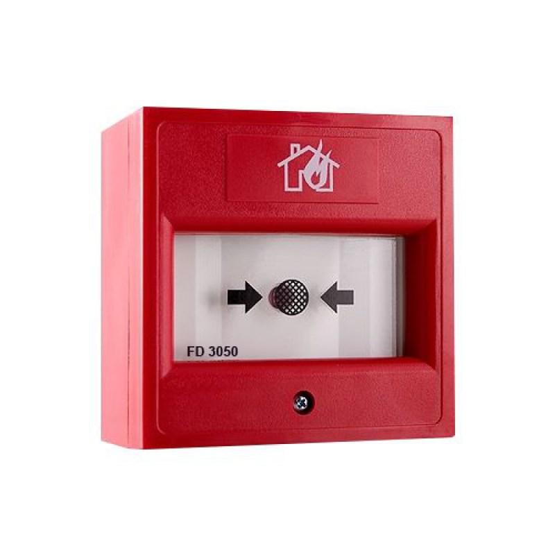 FD 3050 Konvansiyonel Kırılabilir Cam İçerikli Yangın Alarm Butonu (Şeffaf Kapaksız)